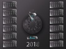 Kalender 2018 och tecken av zodiaken Royaltyfria Foton