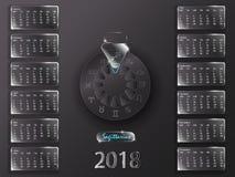 Kalender 2018 och tecken av zodiaken Fotografering för Bildbyråer