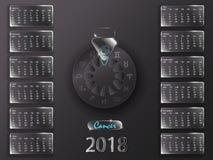 Kalender 2018 och tecken av zodiaken Arkivfoton