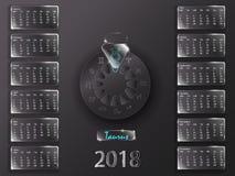 Kalender 2018 och tecken av zodiaken Arkivbild