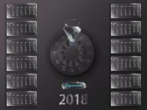 Kalender 2018 och tecken av zodiaken Arkivfoto