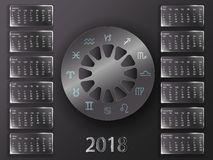 Kalender 2018 och tecken av zodiaken Arkivbilder