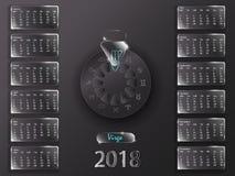 Kalender 2018 och tecken av zodiaken Royaltyfri Fotografi