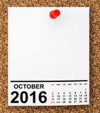 Kalender Oktober 2016 framförande 3d Arkivfoto