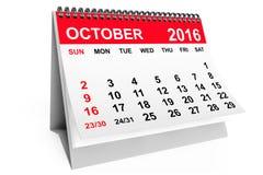 Kalender Oktober 2016 framförande 3d royaltyfri illustrationer
