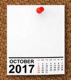 Kalender Oktober 2017 framförande 3d Royaltyfria Bilder