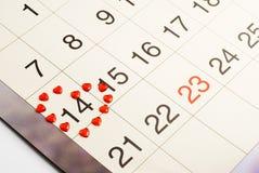 Kalender op 14 Februari, de Dag van de Valentijnskaart Royalty-vrije Stock Foto's