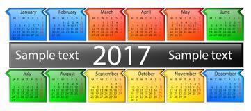 Kalender op het jaar van 2017 Stock Afbeeldingen