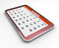Kalender op mobiele telefoon stock foto's