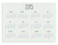 Kalender op notitieboekjepagina Stock Afbeelding
