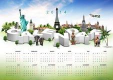 Kalender op reisachtergrond Royalty-vrije Stock Foto's