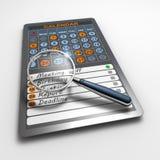 Kalender op tabletcomputer Stock Fotografie