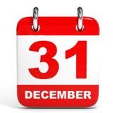 Kalender op witte achtergrond 31 December Royalty-vrije Stock Afbeeldingen