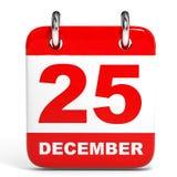 Kalender op witte achtergrond 25 December Royalty-vrije Stock Afbeeldingen