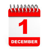 Kalender op witte achtergrond 1 December Stock Foto