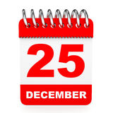 Kalender op witte achtergrond 25 December Royalty-vrije Stock Foto's