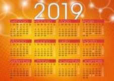 Kalender 2019 oranje abstracte achtergrond met het fonkelen lichten royalty-vrije illustratie