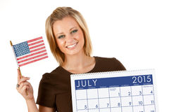 Kalender 2015: Ordna till för Juli 4th ferie Arkivfoton