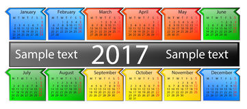 Kalender på 2017 år arkivbilder