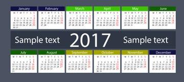 Kalender på 2017 år Arkivfoto