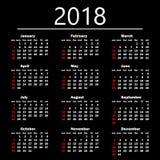 Kalender 2018 på en svart bakgrund också vektor för coreldrawillustration Arkivfoton
