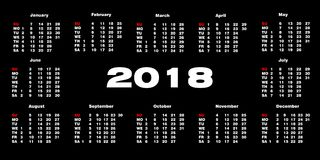 Kalender 2018 på en svart bakgrund också vektor för coreldrawillustration Royaltyfri Foto