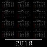 Kalender 2018 på en svart bakgrund också vektor för coreldrawillustration Fotografering för Bildbyråer
