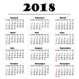 Kalender 2018 på en vit bakgrund också vektor för coreldrawillustration Royaltyfri Fotografi