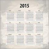 kalender 2015 på texturerad bakgrund Arkivbilder