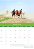 Kalender 2014. Paard. April Royalty-vrije Stock Fotografie
