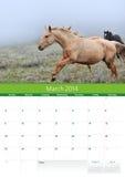 Kalender 2014. Paard. Maart Royalty-vrije Stock Afbeeldingen