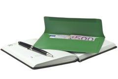 Kalender, pen en gekleurde enveloppen met Euro Royalty-vrije Stock Afbeeldingen