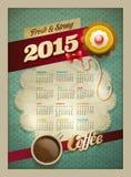 Kalender-Plakat des Kaffee-2015 u. des Kuchens Lizenzfreie Stockbilder