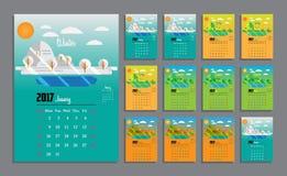 2017 Kalender-Planer-Design Lizenzfreie Stockfotografie