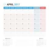 Kalender-Planer für die April 2017-Vektor-Design-Schablone stationär Stockfotografie