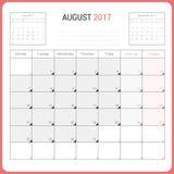 Kalender-Planer für die August 2017-Vektor-Design-Schablone stationär Stockfotos