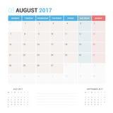 Kalender-Planer für die August 2017-Vektor-Design-Schablone stationär Stockfoto