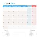 Kalender-Planer für die Juli 2017-Vektor-Design-Schablone stationär Lizenzfreies Stockfoto