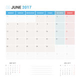 Kalender-Planer für die Juni 2017-Vektor-Design-Schablone stationär Stockbild