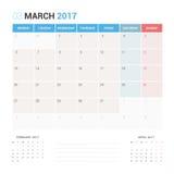 Kalender-Planer für die März 2017-Vektor-Design-Schablone stationär Lizenzfreies Stockbild