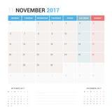 Kalender-Planer für die November 2017-Vektor-Design-Schablone stationär Lizenzfreie Stockbilder