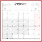 Kalender-Planer für die Oktober 2017-Vektor-Design-Schablone stationär Stockbild