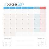 Kalender-Planer für die Oktober 2017-Vektor-Design-Schablone stationär Lizenzfreies Stockbild