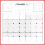 Kalender-Planer für die September 2017-Vektor-Design-Schablone stationär Lizenzfreies Stockfoto
