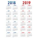 Kalender-Planer-guten Rutsch ins Neue Jahr Gruß-Karten-Text-Typografie-Design-Vektor 2018 u. 2019 Stockfotos