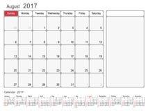 Kalender-Planer im August 2017 Lizenzfreie Stockbilder