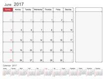 Kalender-Planer im Juni 2017 Stockfotografie