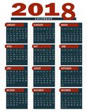 Kalender 2018, Planer, Organisator und Zeitplanschablone für Firmen und Privatnutzung Lizenzfreies Stockbild