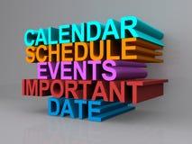 Kalender, programma, gebeurtenissen, belangrijke datum Stock Afbeeldingen