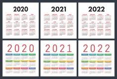 Kalender 2020, 2021, 2022 ?r F?rgrik upps?ttning Fick- kalender Veckastarter p? s?ndag Grundl?ggande raster stock illustrationer